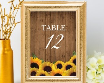 Printable Rustic Sunflowers Table Number Name Card Signs, Editable PDF, Instant Download