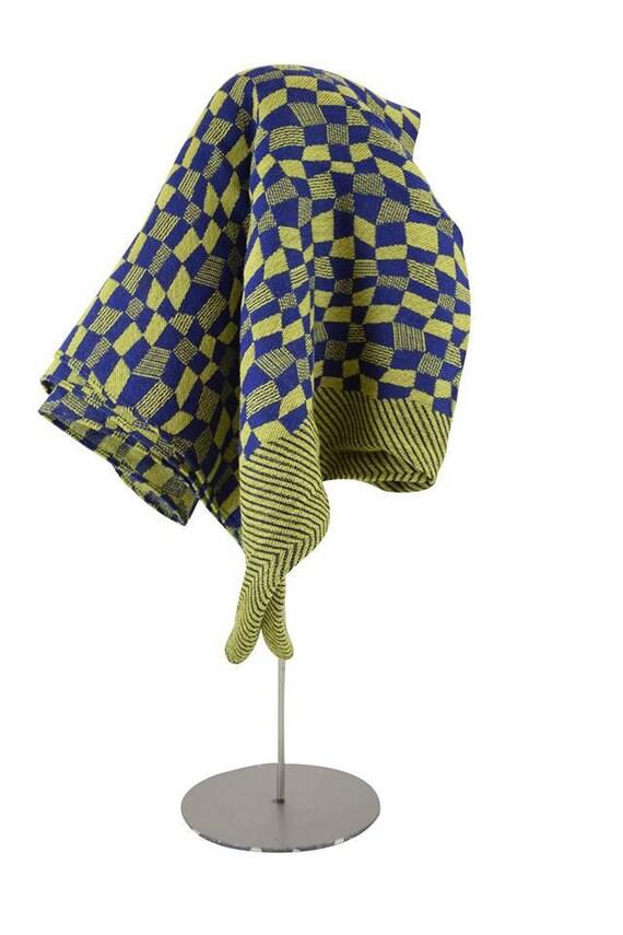 SALE 65%OFF- Foulard en laine bien chaud - BENITA - Anis et Bleu - la Tribu des Oiseaux