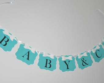 Personalized Banner for Baby Showers, Bridal Showers, Sweet 16, Birthdays- Robins Egg Blue with 3D Bow Baby & Co. Bride and Co.