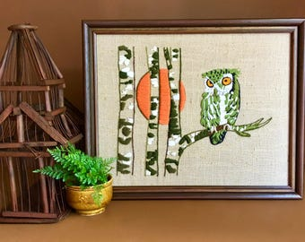 Vintage Owl with Tree and Moon Crewel Wall Art Hanging in Frame - In Excellent Condition! - Vintage Seventies Wall Decor