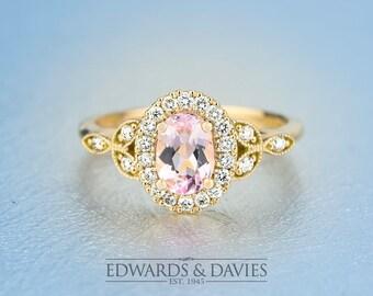 Yellow Gold Morganite Diamond Halo Engagement Ring   Antique Style Engagement   Yellow Gold Halo Engagement   Oval Morganite Engagement Ring