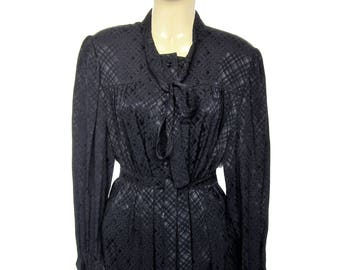 Black Pierre CARDIN vintage collar cravat silk 1970's Secretary dress