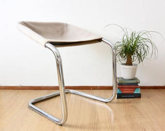 SET of Italian Chrome Tubular Chairs | Design Stool Low Back | Dining Chairs 70s |