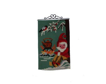 Decorative vintage retro Christmas handembroidered Wall hanging Tapestry with gnome / santa / elf. Made in Sweden Scandinavian