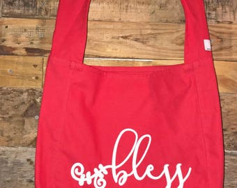 Bless 100% Cotton Canvas Red Bag screen printed