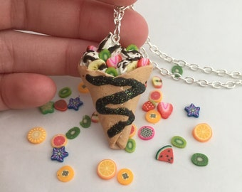 Miniature Fruit Crepe Necklace // Polymer Clay Food Jewelry // Realistic // Kawaii // Quirky // Spring - Summer // Dessert Jewelry // Sweet