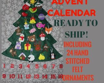 Felt advent calendar including 24 hand stiched felt ornaments, READY TO SHIP