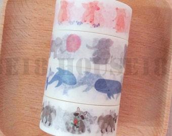 Animal Washi Tape Masking Tape Set of 4 Rolls Pig Elephant Whale Raccoon