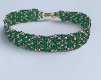 Hearts Entwined Green and Gold Square Stitch Bracelet