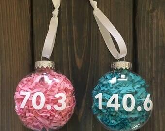 ironman and half ironman ornaments, triathlon, tri