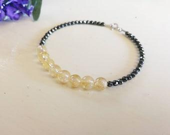 Citrine and hematite bracelet, citrine jewelry, citrine gemstone