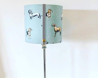 Dog themed linen lampshades