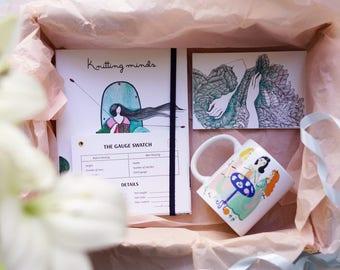 Knitters kit,Knitting journal,Mugs for knitters,Knitting notebook,Knitting gauge cards,Knitting sample,Knitting gift ideas,Gift for knitter