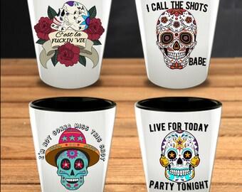 Day of the Dead - Sugar Skull Gift -Skull Shot Glasses - Set of 4 - Mexican Folk Art - Dia De Los Muertos - Halloween Gift