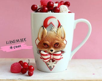 Fox with bow-knot on mug 400 milliliters volume
