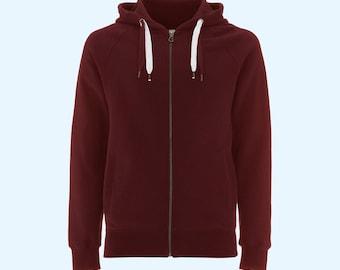 Zip Hoody - Deep Red 100% Organic Cotton