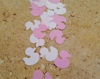Baby Girl Shower Decoration. Handcrafted In 2-3 Business Days. Pink and White Duck Confetti. Baby Ducky Scrapbooking Decorations. 50 Ct.