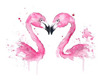 Flamingo watercolour, flamingo print, flamingo art, flamingo wall art, valentines day gift, flamingo gift, flamingo artwork, wedding gift