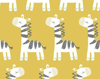 Zebra Fabric, Safari Pals Fabric, Yellow Fabric, Zoo Animals, Quilters Palette, 100% Quilting Cotton Fabric, Choose your Cut