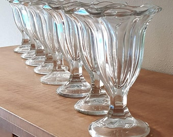 Ice Cream Cups~Set of 8 Tall Fluted Ice Cream Bowls~Parfait Cups~Root Beer Float Glasses
