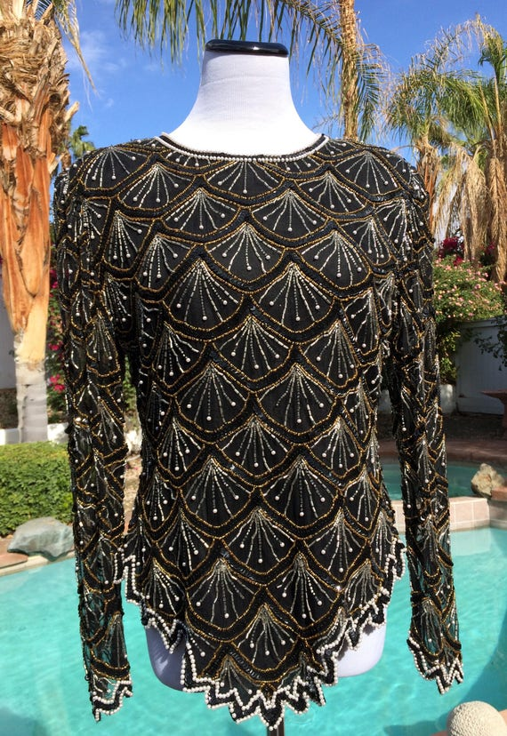 Laurence Kazar  80s Black Blouse with Gold and Silver Beading and WhitePearl accents,Size Large.