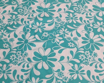 Crazy Daisy-Turquoise and White Cotton Fabric