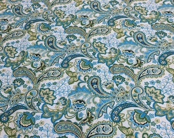 Cassandra Paisley-Turquoise-Cotton Fabric from Fabri-Quilt