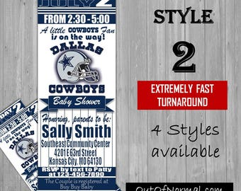 Dallas Cowboys Themed Baby Shower Invitation Tickets - Super Bowl! NFL Football Shower Party Invitations invites! New Mom, expecting