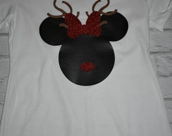 Minnie mouse reindeer inspired shirt, mickey mouse reindeer, Disney holiday shirt, Disney Christmas shirt, reindeer shirt, Christmas shirt