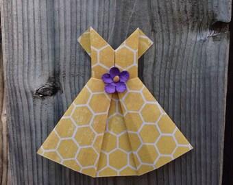 Ten Handmade Origami Dresses, Scrapbook Supplies, Scrapbook Decoration, Paper Dress, Card Topper Supplies