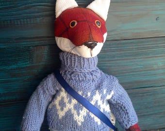 FANTASY FABRIC TOY, Hipster Fox, Stuffed Fox Toy, Fabric Animals, Fox Stuffed Animal, Soft Animals, Unique Animals Toys, Mr.Fox, eco toy