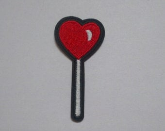 Lolly Heart Iron on Applique, Lollipop Red Heart Iron on Patch, Iron-on Application