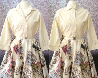 Vintage 1950s cream long sleeve blouse w statement cuffs & stitching details - 50s ladies shirt w embroidery - 40 inches bust