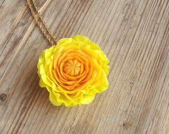 Cold porcelain yellow ranunculus flower pendant, bright porcelain, clay flowers necklace, sunny summer jewelry present, gift for her