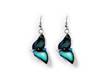 Butterfly 3-D Earrings Turquoise Black