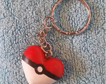 Pokeball Heart Keychain
