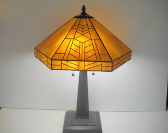 Stained Glass Lamp Caramel Color with a marble glass look