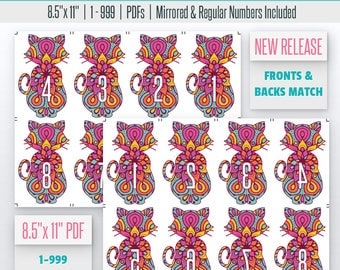 Cat Mandala Live Number Cards(1-999) Mirrored/Reverse & Regular Numbers Included   8.5x11   Cat Printable   live sale number