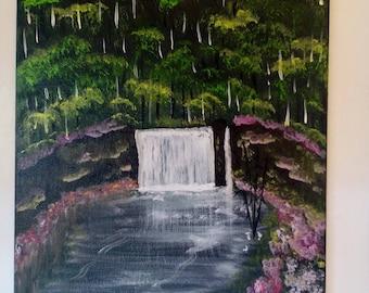 Cascade on an island paradise, Acrylic paint