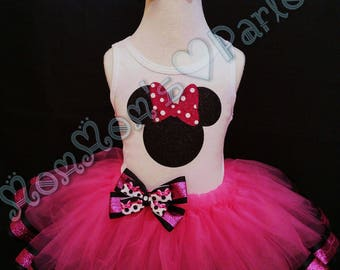 Minnie Mouse inspired tutu, Pink minnie mouse tutu, glitter minnie mouse tutu, birthday outfit, minnie mouse birthday outfit