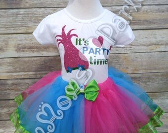 Troll birthday tutu outfit, birthday outfit, birthday tutu, troll hair dont care, trolls, troll theme birthday, princess poppy troll tutu