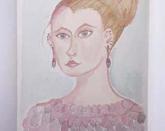 Julia. Original watercolor and colored pencil painting Original portrait Portrait of woman Pink and blue Earrings 9x12 Original art kmoeri