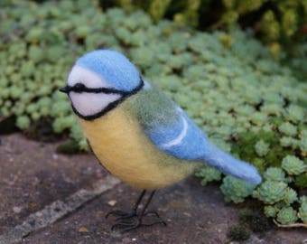 Needle felted blue tit, wool bird collectable, perfect gift for a bird lover, gift for Mum, this exact bird, ready n