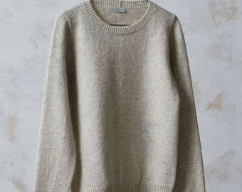 WOOL SWEATER, Knitted basic wool jumper, Natural grey basic sweater, Hand knitted wool top, Organic wool pullover, Soft wool sweater