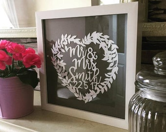 Mr and Mrs personalised wedding paper cut heart, handmade, framed, unique, anniversaire, new home, thank you, present, papercut