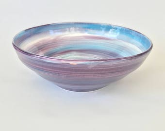 Large Purple and Blue Ceramic Bowl