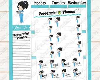 Nurse Stickers --- Work Tracker --- Planner Stickers --- 618