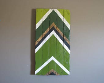 Green Geometric Chevrons on reclaimed wood