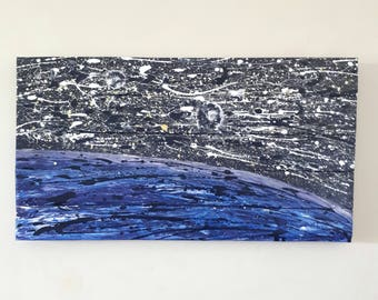 Abstract acrylic painting on reclaimed wood