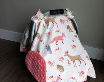 Car Seat Canopy | Woodland Animal Flannel | Coral Pink Minky Bottom | Deer Fox Owl Floral Girl Girl Carseat Cover Carseat Canopy